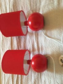 2 red bedside lamps. Ex condition