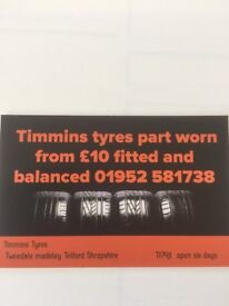 Part worn Tyres from £10 fitted and balanced