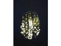 Pretty shade for pendant ceiling light - enhances light - silver & crystal look