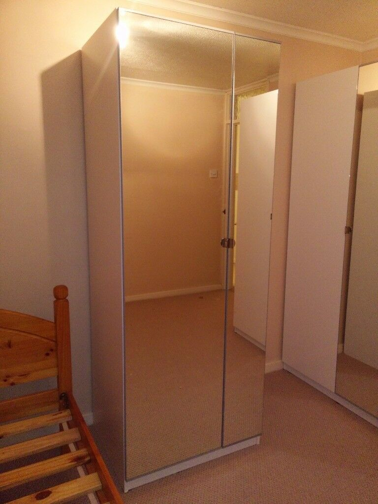 ** BRAND NEW WARDROBE** Ready Built IKEA PAX white 75x58x201 with mirror doors