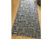 Brand new floor length curtains, blue pattern