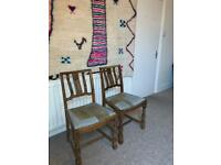 Antique chairs with patchwork upholstery