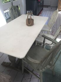 Shabby Chic painted table and 4 chairs