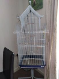 White hanging bird cage