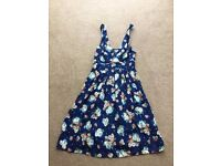 Ladies New Look Summer Dress. Navy with floral detailing
