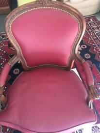 Beautiful Antique Style Red Balloon Back Chair | Brand New