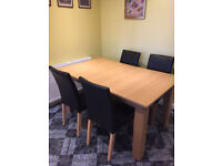 Dining Table oak veneer with 4 faux leather brown chairs