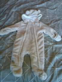 Jasper Conran faux fur pramsuit 3-6 months