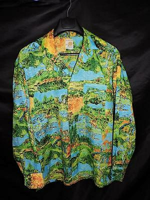 Vintage 70s Peachskin L Blue Orange Green Harvest Farm Print Shirt Disco Hippie