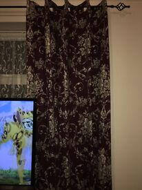 Dunelm Adriana Sateen Plum Thermal Eyelet Curtains