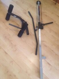 Pull down bar and Leg extension bar attachments, both fit 40mm standard workout bench slots. £10.