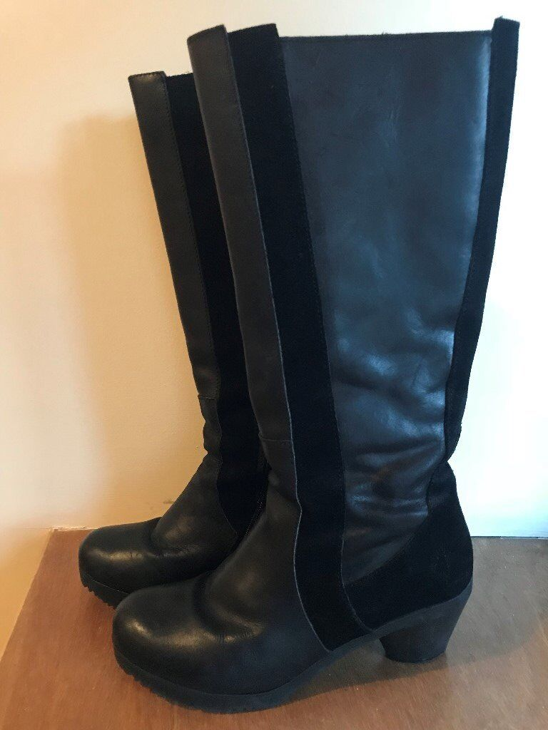 Fly London women's size 6 (39) black knee-high leather/suede boots for sale. Good condition.
