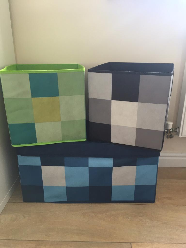 Next Boys Bedroom Furniture Next Fabric Boys Bedroom Storage Cube Toy Box Pixel Blue Green