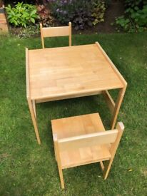 Children's Pine Table and Two chairs