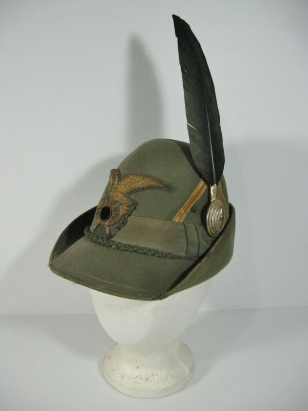 Original - WWI Italian Alpine Officers Hat w/ Chevron and Raven