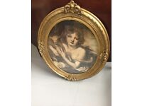 Antique Victorian Oval Gold Framed Pictures