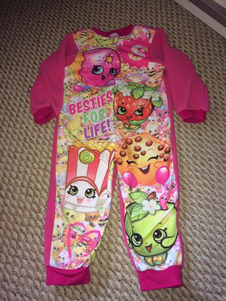 Girls size 3-4 shopkins onesie pyjamas CHRISTMAS PRESENT
