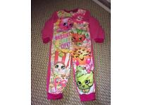 Girls size 3-4 shopkins onesie pyjamas CHRISTMAS PRESENT