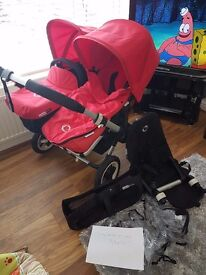 Bugaboo donkey duo with side basket, chassis and extras