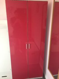 High gloss pink and white bedroom furniture