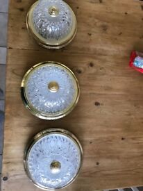 Vintage Spanish Gold and Glass Flush Ceiling Lights x3