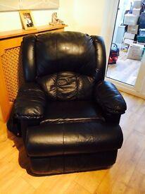 Lazy boy black leather arm chair