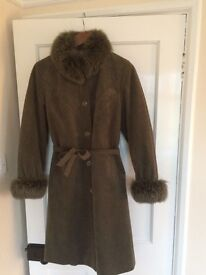 Vintage Green Belted Trench Arctic Fox Real Fur Coat Size Small RRP £950