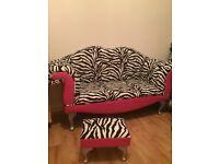 2 seater zebra print sofa