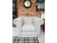 CHESTERFIELD CLUB CHAIR GREY IMMACULATE
