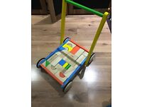 BIGJIGS Wooden baby walker with bricks