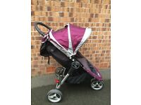 Baby Jogger City Mini Quick Fold 3 wheel push chair plum/grey. Excellent Condition !