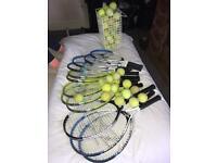 12 x Tennis Rackets + 100 Tennis balls + holder