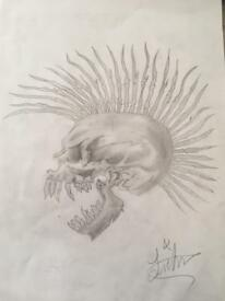 Punk skull drawing
