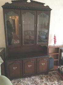 Mahogany dresser unit display cabinet