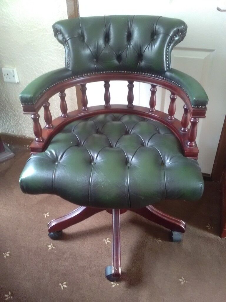Antique Chesterfield Style Leather Captains Office Swivel