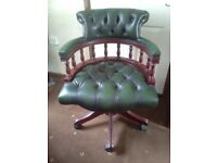 ANTIQUE CHESTERFIELD STYLE LEATHER CAPTAINS OFFICE SWIVEL CHAIR - GREEN