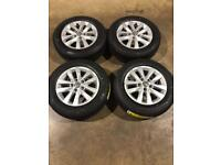 "Set of 16"" genuine Vw alloy wheels with brand new tyres Vw T5 T6 Transporter"