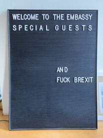 Black Letter Board with Mounting Hooks