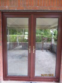 PVC Patio Doors + frame, mahogany colour.