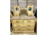 Vintage pretty pine chest of drawers with marble top Stoke Bishop, Bristol