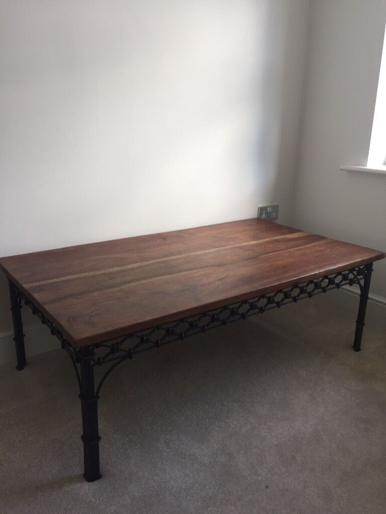 laura ashley oak coffee table with metal fret work and legs