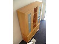 Large solid wood split dresser cabinet