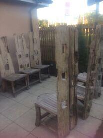 6 teak designer wooden indoor/outdoor chairs