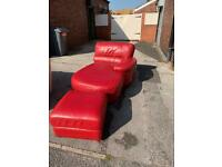 Red leather chaise sofa and ottoman footstool