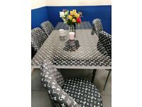 😍FACTORY OUTLET 💥 GLASS EXTENDABLE DINING TABLE AND 6 CHAIRS WITH DELIVERY OPTIONS