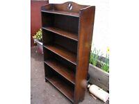 old antique oak open bookcase, bookshelf, small antique vintage solid oak bookcase / shelves