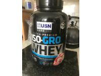 2kg new & sealed ISO-GROW whey powder strawberry protein power USN collection rothwell