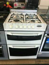 BELLING 60CM GAS DOUBLE OVEN COOKER IN WHITE