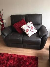 One week old SCS brown leather 2 Seater sofas X2. Cost £1150