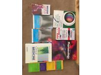 Assorted medical textbooks